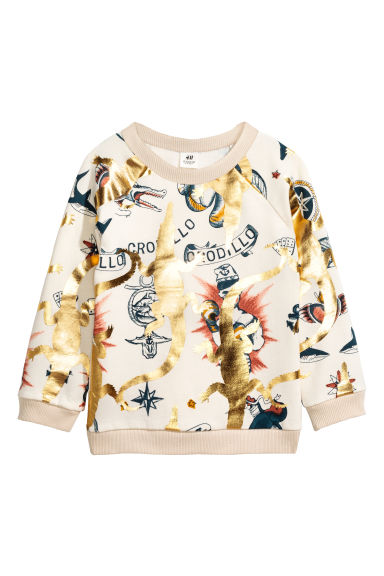 Printed sweatshirt - Natural white/Gold - Kids | H&M 1