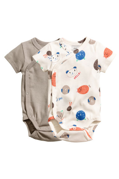 2-pack wrapover bodysuits - Mole - Kids | H&M