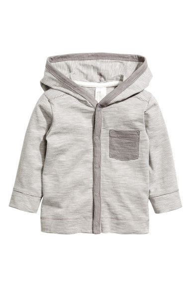 Jersey hooded cardigan - Grey/Fine stripe - Kids | H&M CN 1