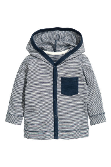 Jersey hooded cardigan - Dark blue/Narrow striped - Kids | H&M CN 1