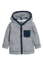 Cardigan jersey con cappuccio - Blu scuro/righine - BAMBINO | H&M IT 1