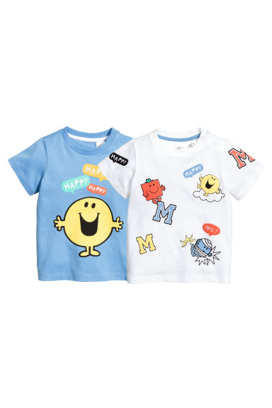 2-pack T-shirts - Blue/Mr. Men and Little Miss - Kids | H&M 1