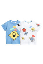 2-pack T-shirts - Blue/Mr. Men and Little Miss - Kids | H&M CN 1