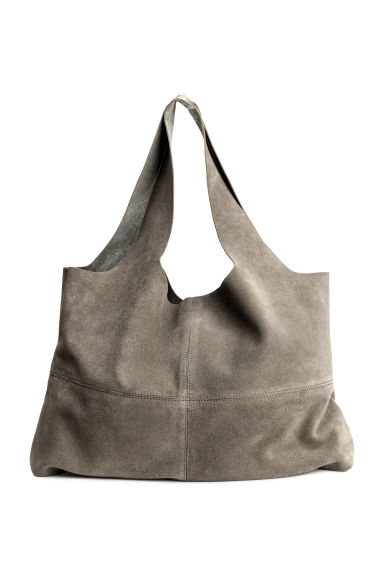 Large suede shopper - Grey - Ladies | H&M 1