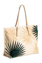 Canvas shopper - Light beige/Leaf - Ladies | H&M CN 2