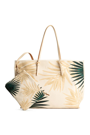 Canvas shopper - Light beige/Leaf - Ladies | H&M 1