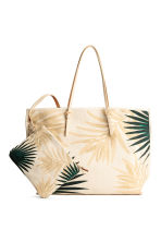 Canvas shopper - Light beige/Leaf - Ladies | H&M CN 1