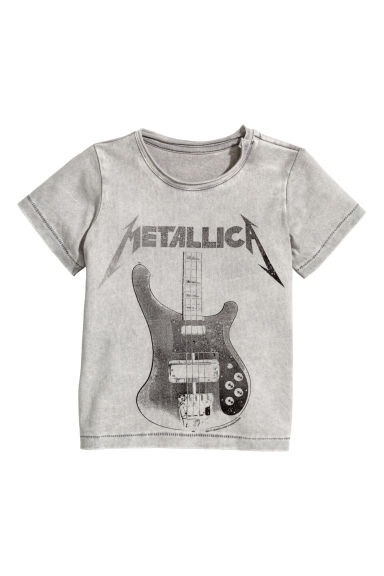 Printed T-shirt - Grey/Metallica - Kids | H&M 1