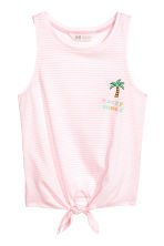 Tie-front vest top - Light pink -  | H&M 2