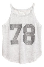 Printed jersey vest top - Light grey marl -  | H&M 2