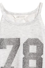 Printed jersey vest top - Light grey marl -  | H&M CN 3