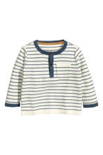 Cotton jumper - Natural white/Blue/Striped - Kids | H&M CN 1