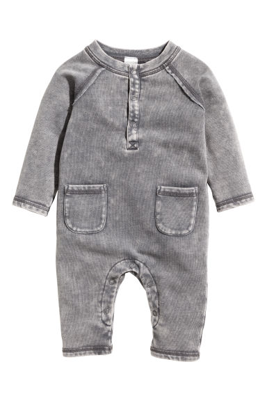 Sweatshirt romper suit - Grey washed out - Kids | H&M CN 1