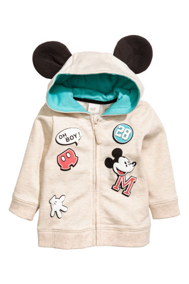 Printed hooded jacket - Light beige/Mickey Mouse - Kids | H&M 1