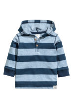 Jersey hooded top - Blue/Striped -  | H&M 1