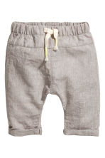 Pull-on linen-blend trousers - Grey beige - Kids | H&M 1