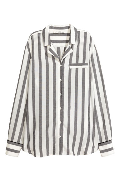 Wide-striped shirt - Black/White/Striped - Ladies | H&M CN 1