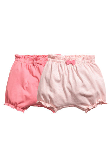 2-pack jersey shorts - Powder pink/Spotted - Kids | H&M 1
