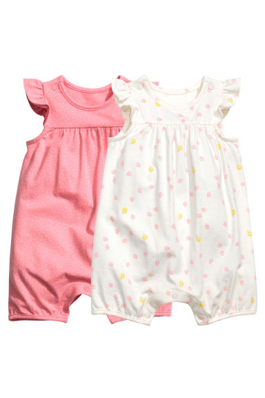 2-pack romper suits - Pink/Spotted - Kids | H&M 1