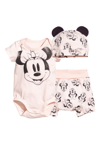 3-part jersey set - Powder pink/Minnie Mouse - Kids | H&M CN 1