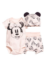 3-part jersey set - Powder pink/Minnie Mouse - Kids | H&M 1