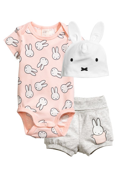 Set in jersey in 3 pezzi - Rosa cipria/Miffy -  | H&M IT 1