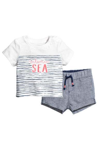 T-shirt and shorts - White/Striped -  | H&M 1