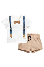 T-shirt and shorts - White/Suspenders -  | H&M 1