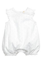 Embroidered cotton romper - White - Kids | H&M 1
