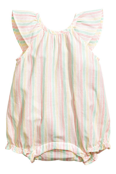 Cotton romper suit - White/Striped -  | H&M 1
