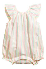 Cotton romper suit - White/Striped - Kids | H&M 1