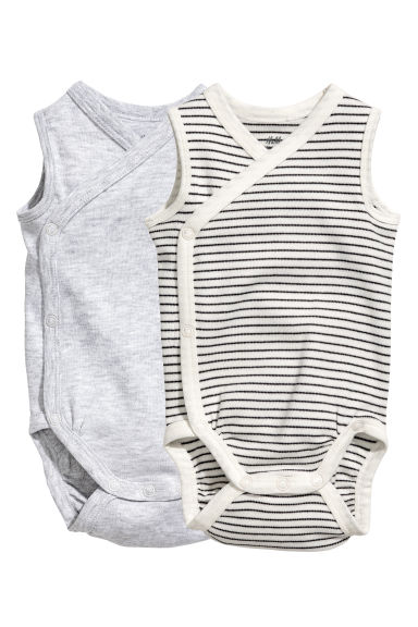 Lot de 2 bodies sans manches - Gris clair chiné -  | H&M FR 1