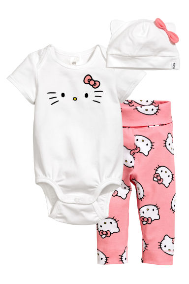 3-piece jersey set - Pink/Hello Kitty - Kids | H&M 1