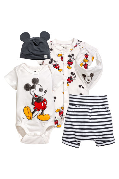 5-piece jersey set - White/Mickey Mouse - Kids | H&M 1
