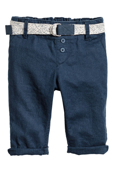 Pull-on linen-blend trousers - Dark blue - Kids | H&M 1