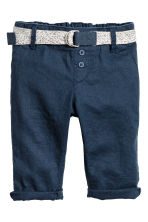 Pull-on linen-blend trousers - Dark blue - Kids | H&M CN 1
