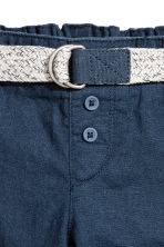 Pull-on linen-blend trousers - Dark blue - Kids | H&M 2