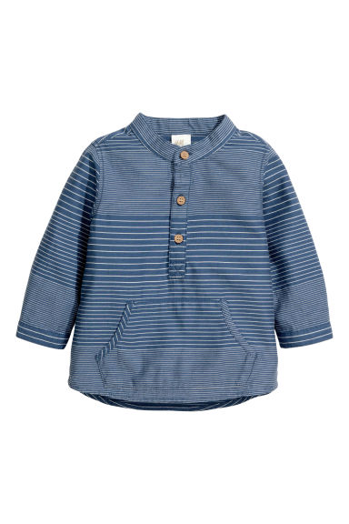 Cotton shirt - Dark blue/Striped - Kids | H&M
