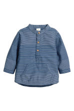Cotton shirt - Dark blue/Striped - Kids | H&M 1