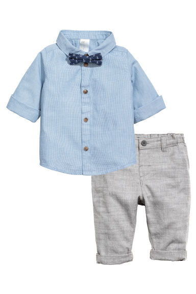 Shirt and trousers - Light blue/Grey - Kids | H&M 1