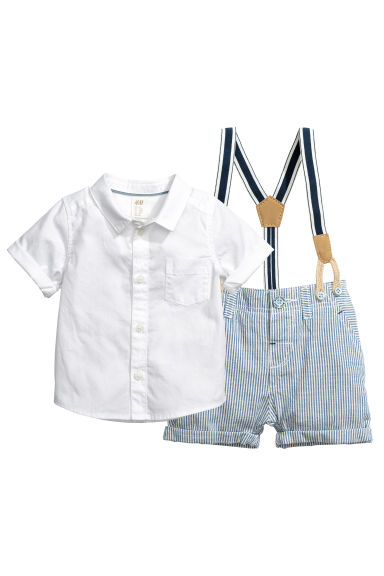 Shirt and shorts - White/Blue - Kids | H&M CN 1