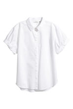Short-sleeved cotton shirt - White - Ladies | H&M 2