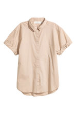 Short-sleeved cotton shirt - Light beige - Ladies | H&M 2