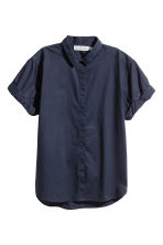 Short-sleeved cotton shirt - Dark blue - Ladies | H&M CA 2