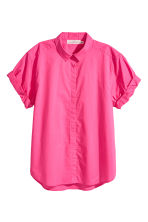 Short-sleeved cotton shirt - Cerise - Ladies | H&M CN 2