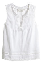 Crinkled cotton top - White -  | H&M IE 2
