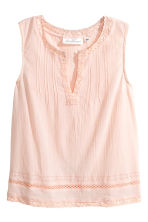 Crinkled cotton top - Powder pink - Ladies | H&M CN 2