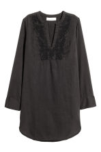 Embroidered cotton tunic - Black -  | H&M 2
