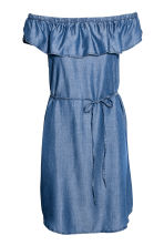 Lyocell off-the-shoulder dress - Denim blue - Ladies | H&M CA 2