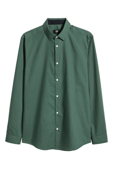 Shirt Slim fit - Dark green - Men | H&M CN